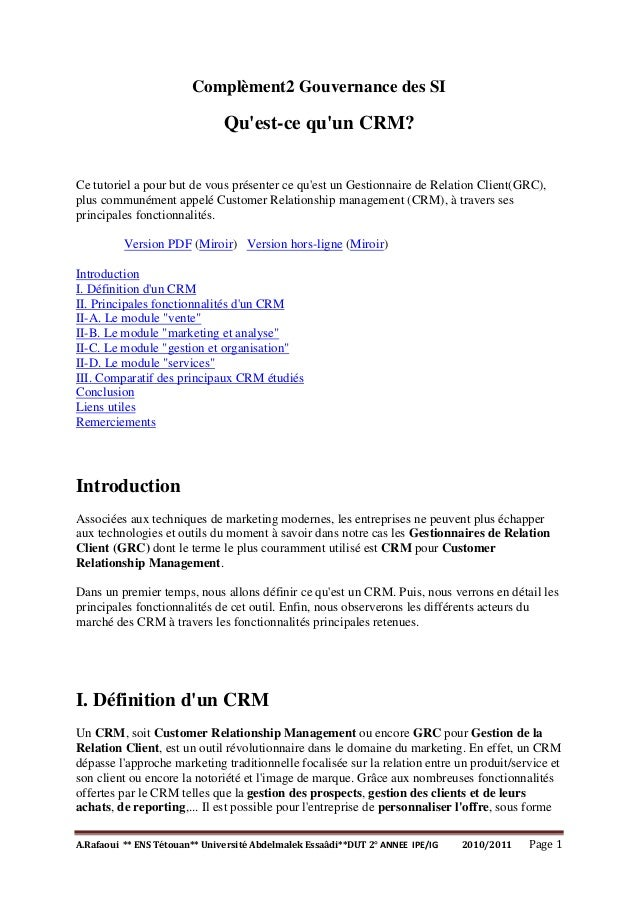 A.Rafaoui ** ENS Tétouan** Université Abdelmalek Essaâdi**DUT 2° ANNEE IPE/IG 2010/2011 Page 1 Complèment2 Gouvernance des...