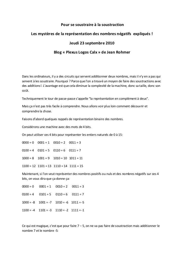 Pour se soustraire à la soustraction       Les mystères de la représentation des nombres négatifs expliqués !             ...