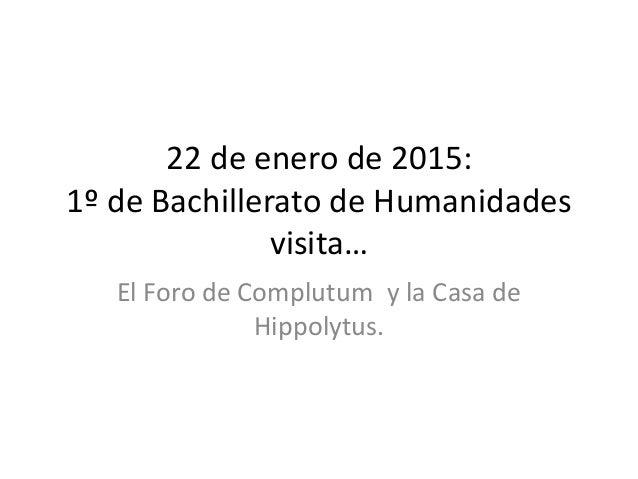 22 de enero de 2015: 1º de Bachillerato de Humanidades visita… El Foro de Complutum y la Casa de Hippolytus.
