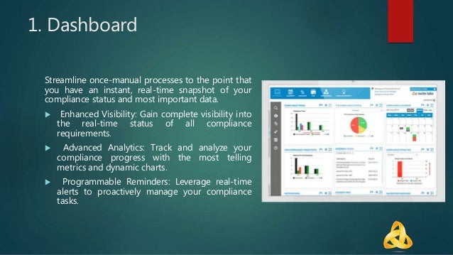 1. Dashboard Streamline once-manual processes to the point that you have an instant, real-time snapshot of your compliance...