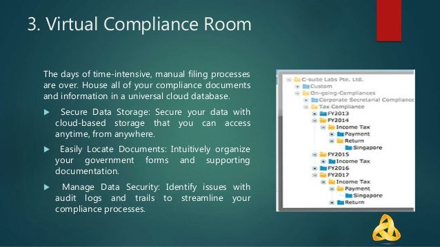 3. Virtual Compliance Room The days of time-intensive, manual filing processes are over. House all of your compliance docu...