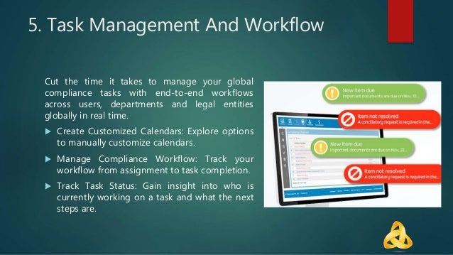 5. Task Management And Workflow Cut the time it takes to manage your global compliance tasks with end-to-end workflows acr...