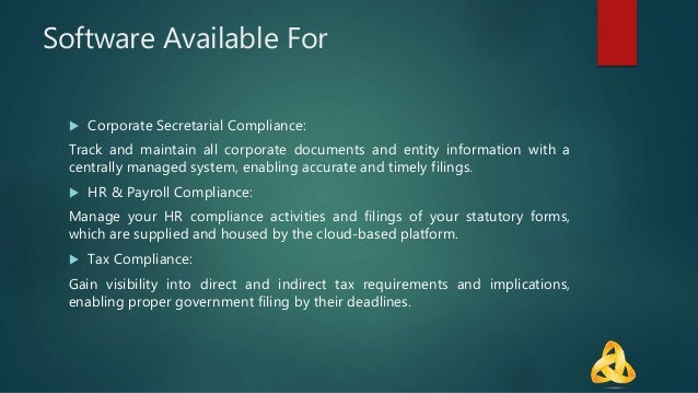 Software Available For  Corporate Secretarial Compliance: Track and maintain all corporate documents and entity informati...