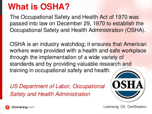 an analysis of the role of the occupational safety and health administration osha The osha (occupational health and safety administration) standards are precise, detailed and fully functional in matters of occupational health and safety.