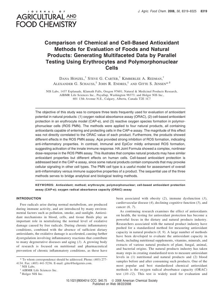J. Agric. Food Chem. 2008, 56, 8319–8325     8319                         Comparison of Chemical and Cell-Based Antioxidan...