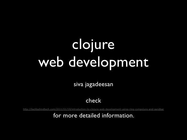 clojure           web development                                       siva jagadeesan                                   ...