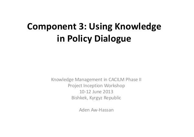 Component 3: Using Knowledge  in Policy Dialogue  Knowledge Management in CACILM Phase II  Project Inception Workshop  10-...