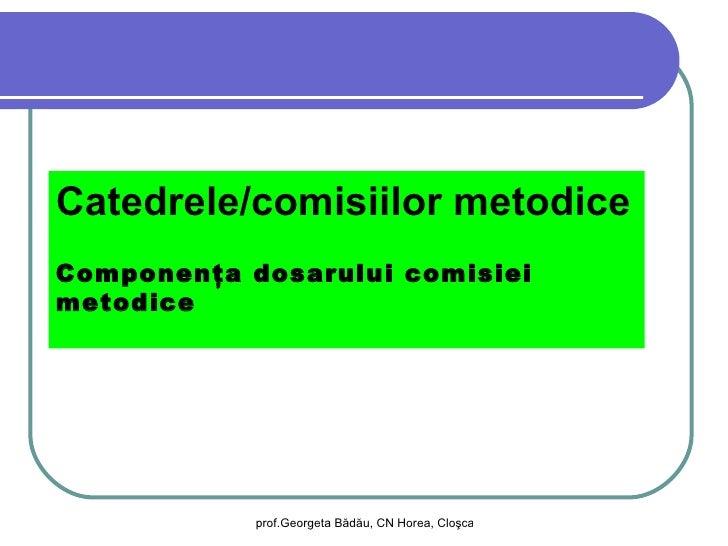 Catedrele/comisiilor metodiceComponenţa dosarului comisieimetodice            prof.Georgeta Bădău, CN Horea, Cloşca şi Cri...