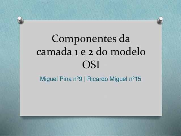 Componentes da camada 1 e 2 do modelo OSI Miguel Pina nº9   Ricardo Miguel nº15