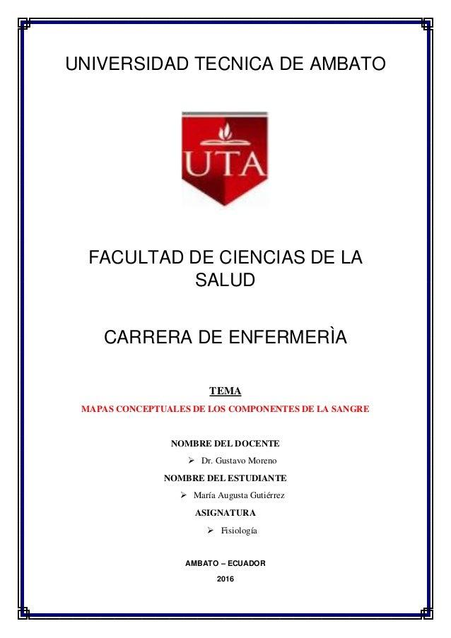 UNIVERSIDAD TECNICA DE AMBATO FACULTAD DE CIENCIAS DE LA SALUD CARRERA DE ENFERMERÌA TEMA MAPAS CONCEPTUALES DE LOS COMPON...