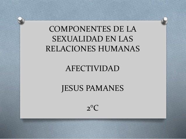 COMPONENTES DE LA SEXUALIDAD EN LAS RELACIONES HUMANAS AFECTIVIDAD JESUS PAMANES 2°C