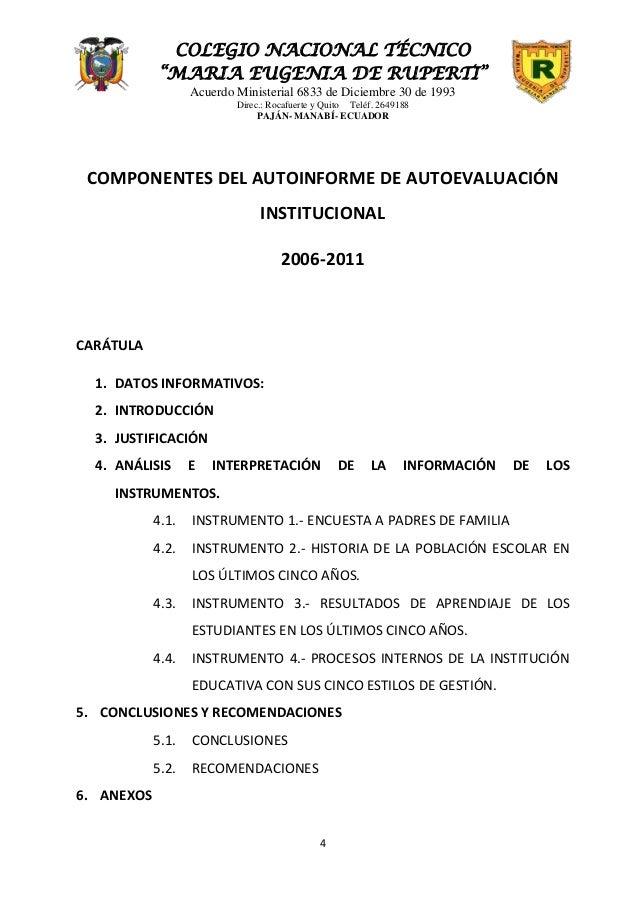 "COLEGIO NACIONAL TÉCNICO            ""MARIA EUGENIA DE RUPERTI""                   Acuerdo Ministerial 6833 de Diciembre 30 ..."