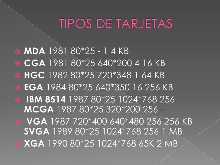 TIPOS DE TARJETAS<br />MDA1981 80*25 - 1 4 KB <br />CGA1981 80*25 640*200 4 16 KB <br />HGC1982 80*25 720*348 1 64 KB <br ...