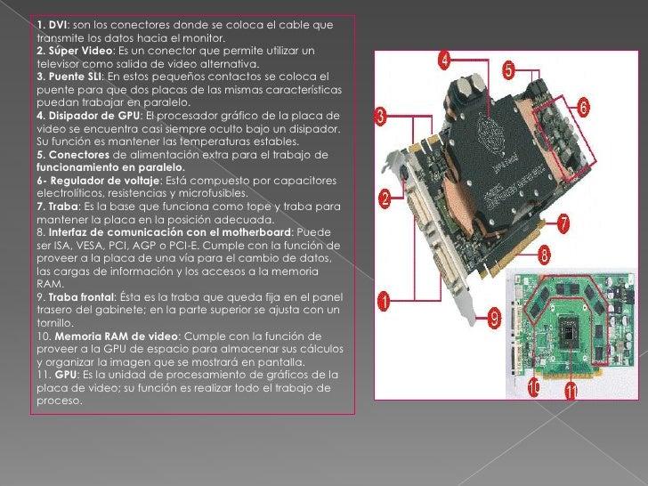 1. DVI: son los conectores donde se coloca el cable que transmite los datos hacia el monitor. 2. Súper Video: Es un conect...