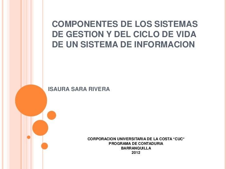 COMPONENTES DE LOS SISTEMAS DE GESTION Y DEL CICLO DE VIDA DE UN SISTEMA DE INFORMACIONISAURA SARA RIVERA           CORPOR...