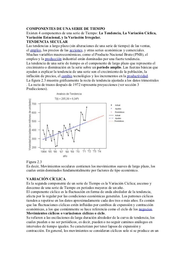 COMPONENTES DE UNA SERIE DE TIEMPOExisten 4 componentes de una serie de Tiempo: La Tendencia, La Variación Cíclica,Variaci...