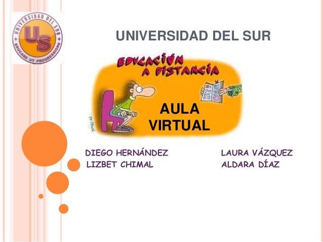 UNIVERSIDAD DEL SUR            AULA           VIRTUALDIEGO HERNÁNDEZ      LAURA VÁZQUEZLIZBET CHIMAL        ALDARA DÍAZPED...