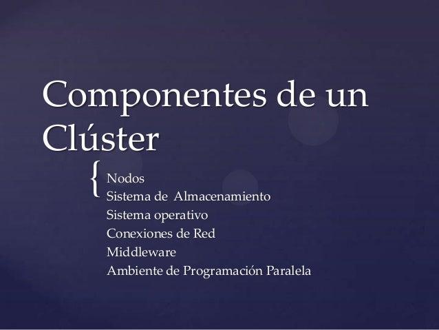 {Componentes de unClústerNodosSistema de AlmacenamientoSistema operativoConexiones de RedMiddlewareAmbiente de Programació...