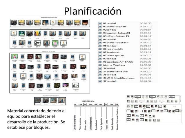 Planificación  Material concertado de todo el  equipo para establecer el  desarrollo de la producción. Se  establece por b...