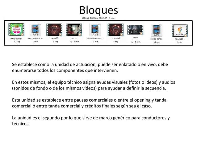 Bloques  Se establece como la unidad de actuación, puede ser enlatado o en vivo, debe  enumerarse todos los componentes qu...