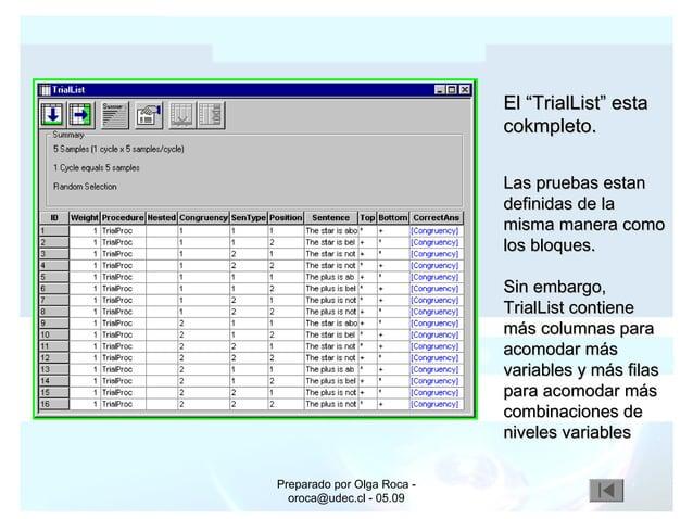 """Preparado por Olga Roca - oroca@udec.cl - 05.09 El """"TrialList"""" estaEl """"TrialList"""" esta cokmpleto.cokmpleto. Las pruebas es..."""
