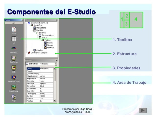 Preparado por Olga Roca - oroca@udec.cl - 05.09 1. Toolbox 2. Estructura 3. Propiedades 4. Area de Trabajo Componentes del...