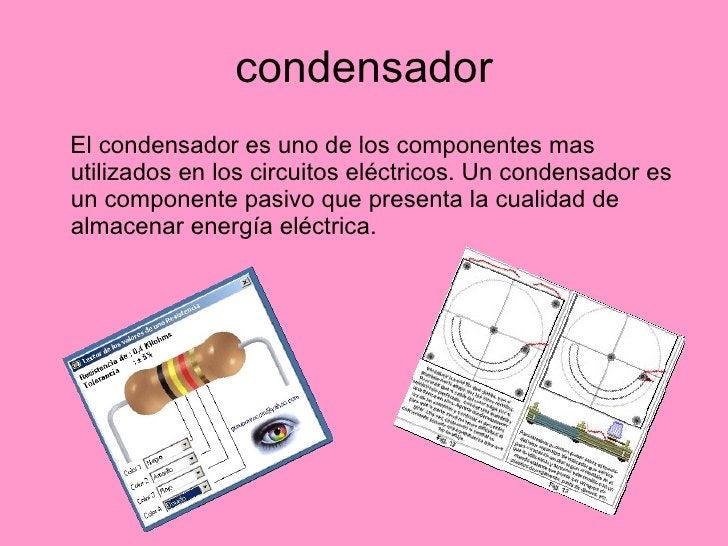 condensador <ul><li>El condensador es uno de los componentes mas utilizados en los circuitos eléctricos. Un condensador es...