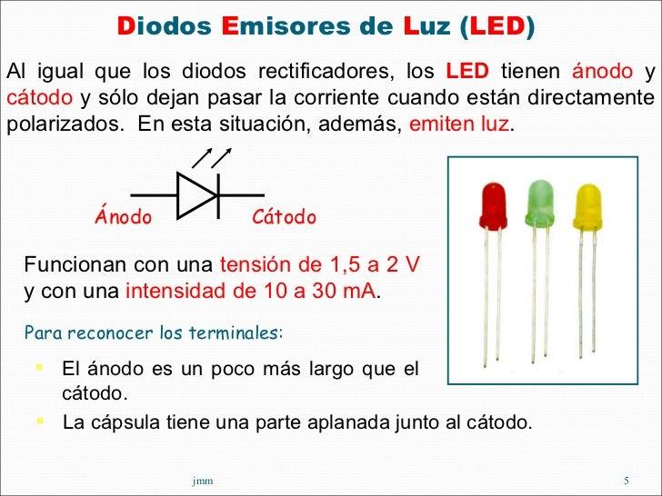 <ul><li>D iodos  E misores de  L uz ( LED )  </li></ul>jmm Funcionan con una  tensión de 1,5 a 2 V  y con una  intensidad ...