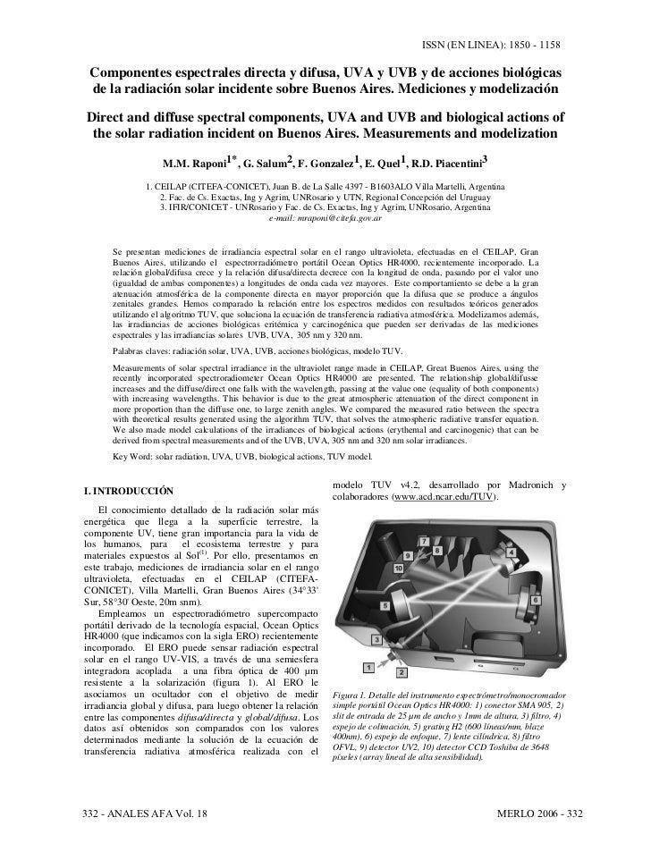 ISSN (EN LINEA): 1850 - 1158 Componentes espectrales directa y difusa, UVA y UVB y de acciones biológicas de la radiación ...