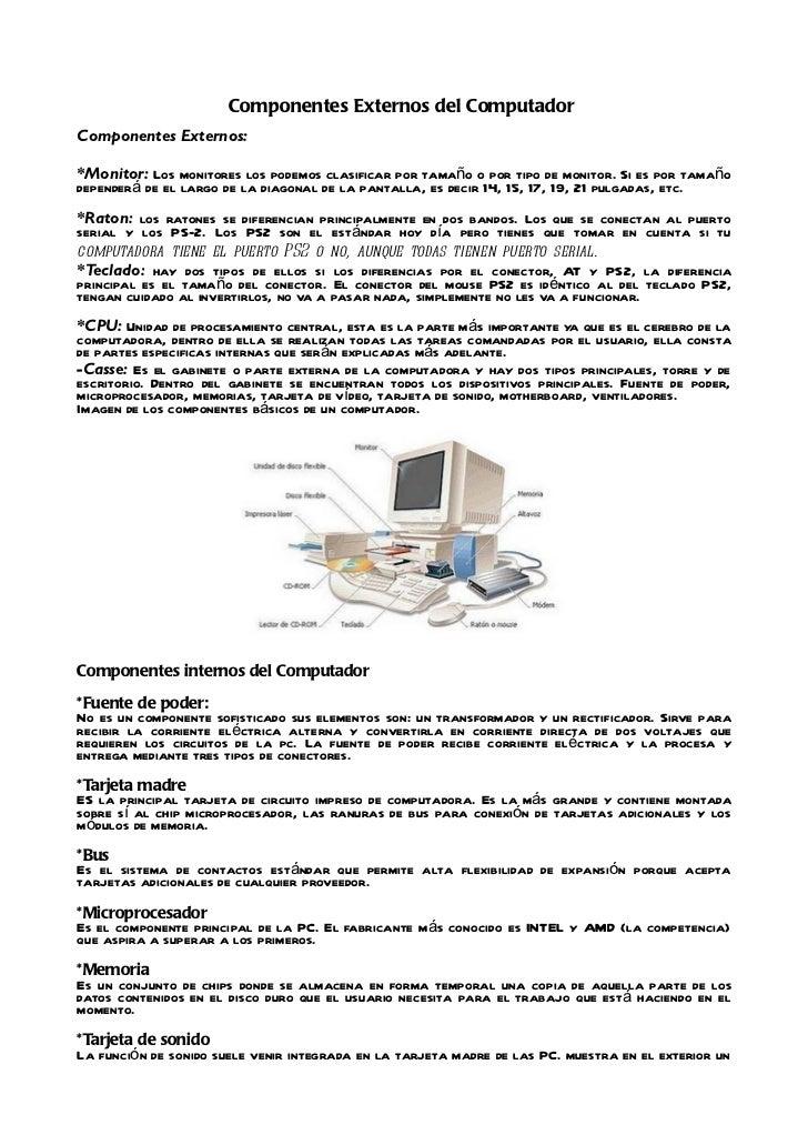 Componentes Externos E Internos Del Computador De