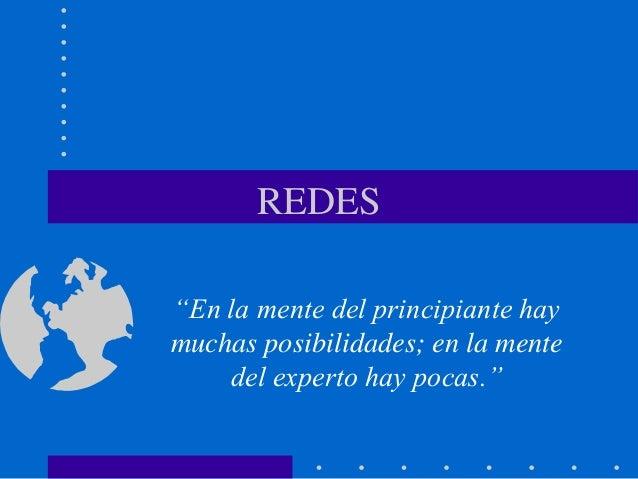 """REDES """"En la mente del principiante hay muchas posibilidades; en la mente del experto hay pocas."""""""