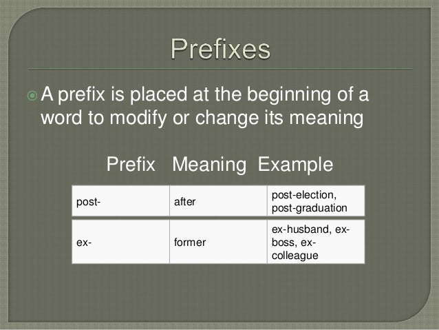 A prefix is placed at the beginning of aword to modify or change its meaningPrefix Meaning Examplepost- afterpost-electio...