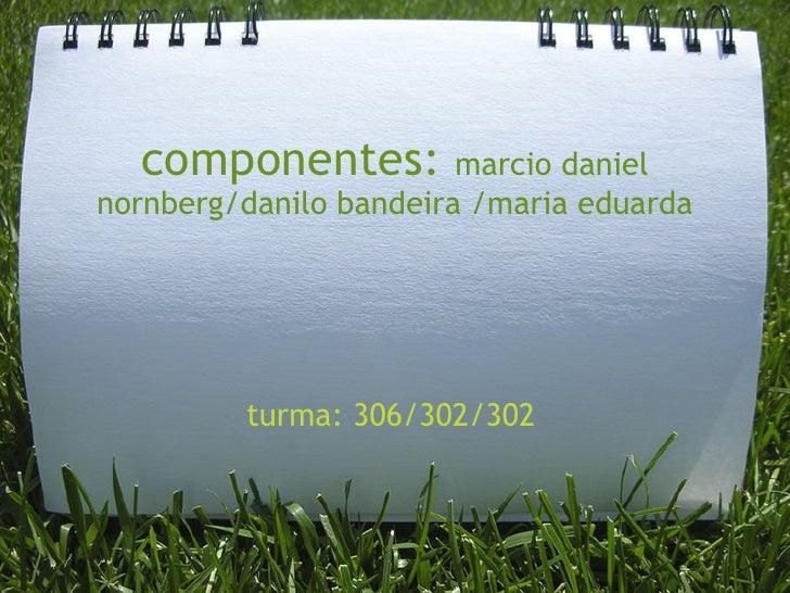 componentes:  marcio daniel nornberg/danilo bandeira /maria eduarda turma: 306/302/302