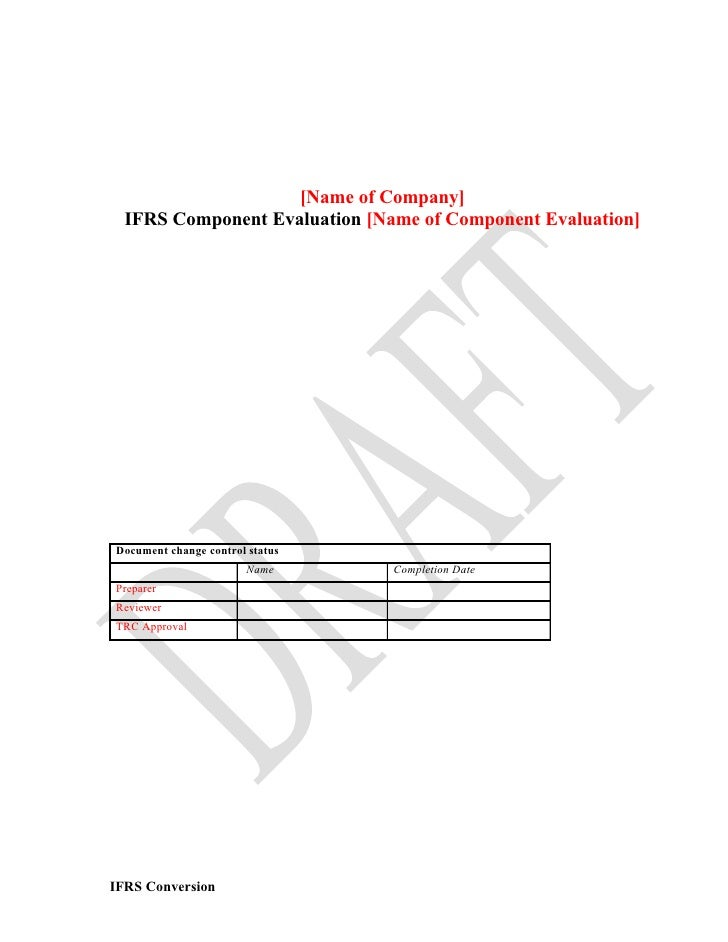 Component evaluation template april 2009 name of company ifrs component evaluation name of component evaluation document change maxwellsz