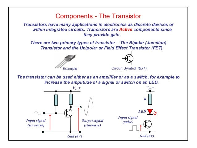 Components - The Transistor Transistors have many applications in electronics as discrete devices or within integrated cir...