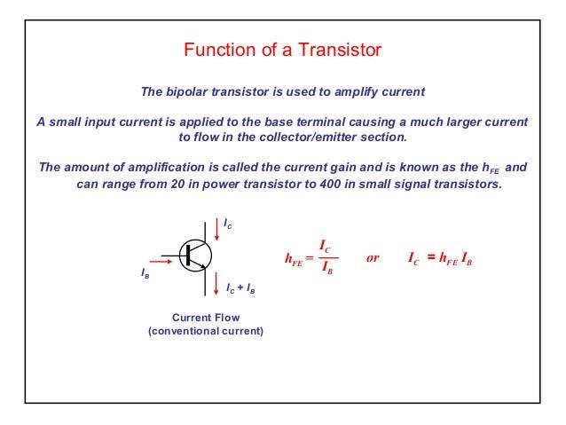 Components transistors for Transistor fonction