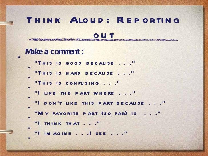 Read Aloud- Think Aloud