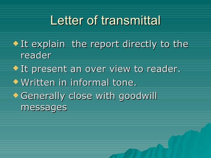 Components of formal report letter of transmittal spiritdancerdesigns Choice Image