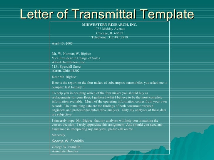 memorandum of transmittal sample