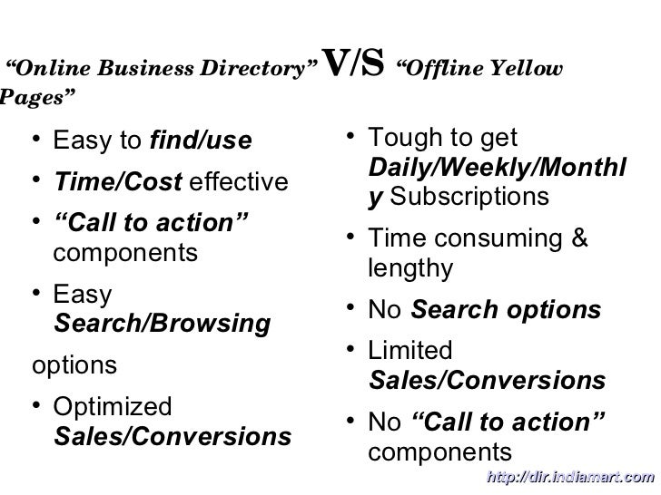 """ Online Business Directory""   V/S  ""Offline Yellow Pages"" <ul><li>Easy to  find/use </li></ul><ul><li>Time/Cost  effectiv..."
