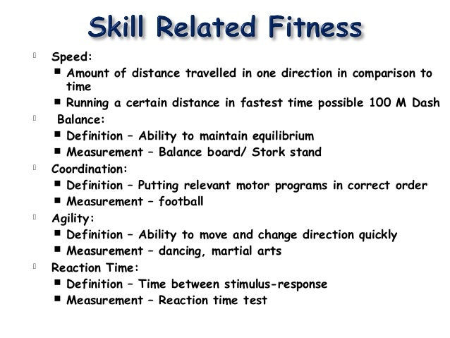 Components of physical fitness