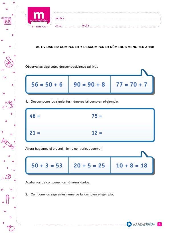 ACTIVIDADES: COMPONER Y DESCOMPONER NÚMEROS MENORES A 100 Observa las siguientes descomposiciones aditivas 1. Descompone l...