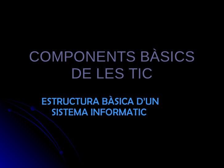 COMPONENTS BÀSICS DE LES TIC ESTRUCTURA BÀSICA D'UN SISTEMA INFORMATIC