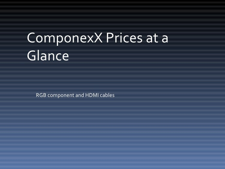 ComponexX Prices at a Glance RGB component and HDMI cables