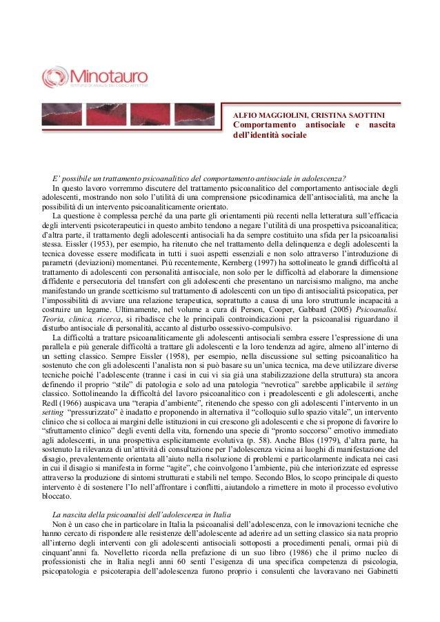 ALFIO MAGGIOLINI, CRISTINA SAOTTINI                                                             Comportamento antisociale ...