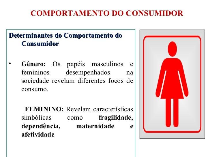 COMPORTAMENTO DO CONSUMIDOR <ul><li>Determinantes do Comportamento do Consumidor </li></ul><ul><li>Gênero:  Os papéis masc...