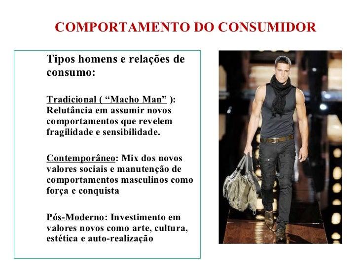 """COMPORTAMENTO DO CONSUMIDOR <ul><li>Tipos homens e relações de consumo: </li></ul><ul><li>Tradicional ( """"Macho Man""""  ): Re..."""