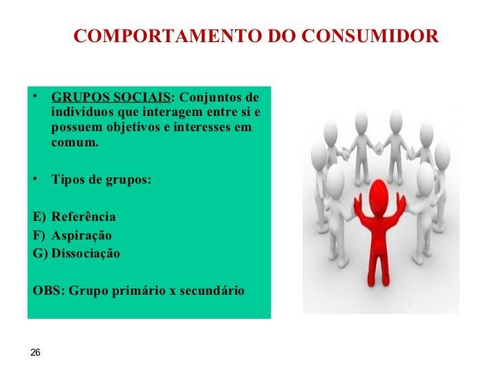 COMPORTAMENTO DO CONSUMIDOR <ul><li>GRUPOS SOCIAIS : Conjuntos de indivíduos que interagem entre si e possuem objetivos e ...