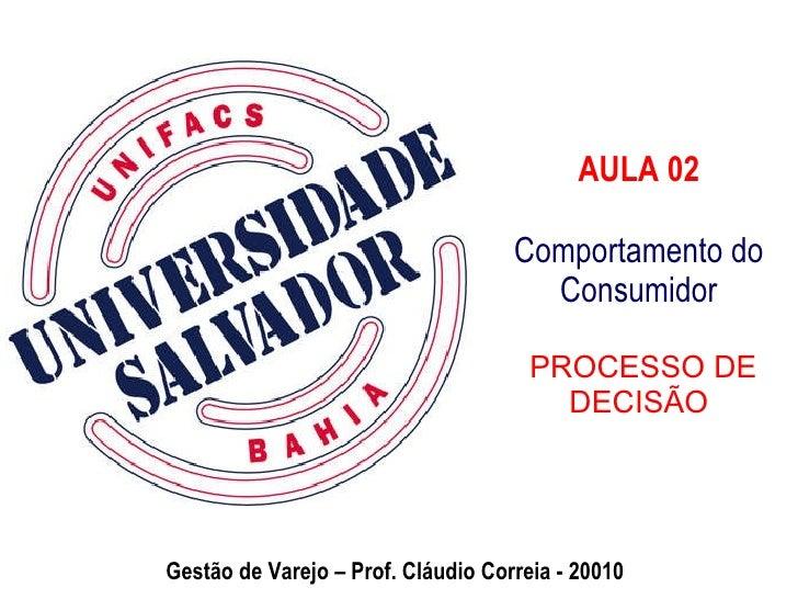 AULA 02 Comportamento do Consumidor  PROCESSO DE DECISÃO Gestão de Varejo – Prof. Cláudio Correia - 20010