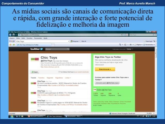 Comportamento do Consumidor                 Prof. Marco Aurelio Morsch      As mídias sociais são canais de comunicação di...
